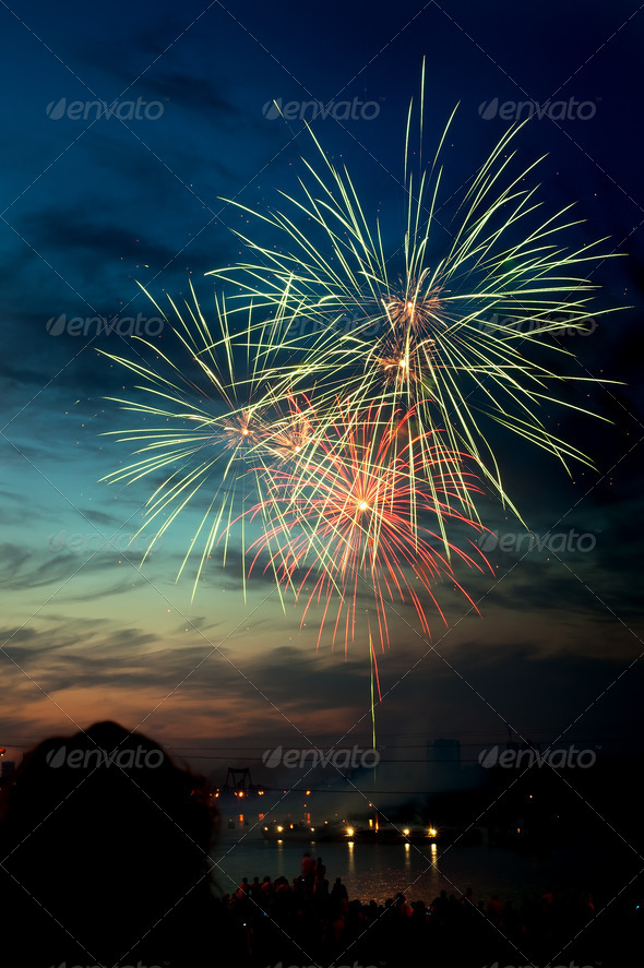 PhotoDune Brightly colorful fireworks in the night sky 4213848