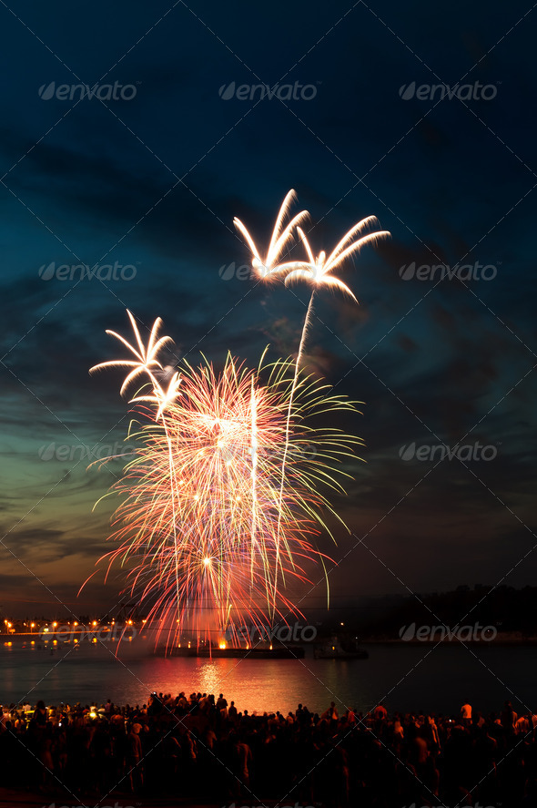 PhotoDune Brightly colorful fireworks in the night sky 4213851