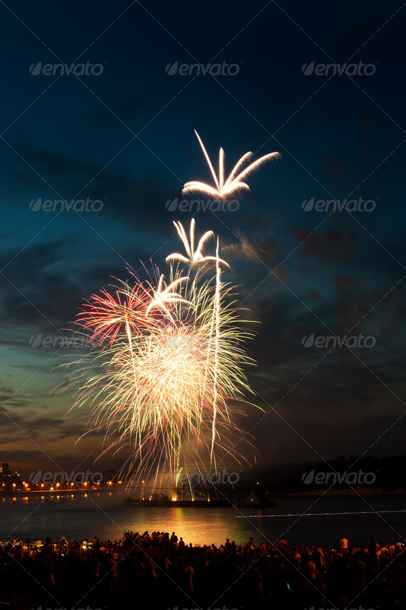 PhotoDune Brightly colorful fireworks in the night sky 4213852