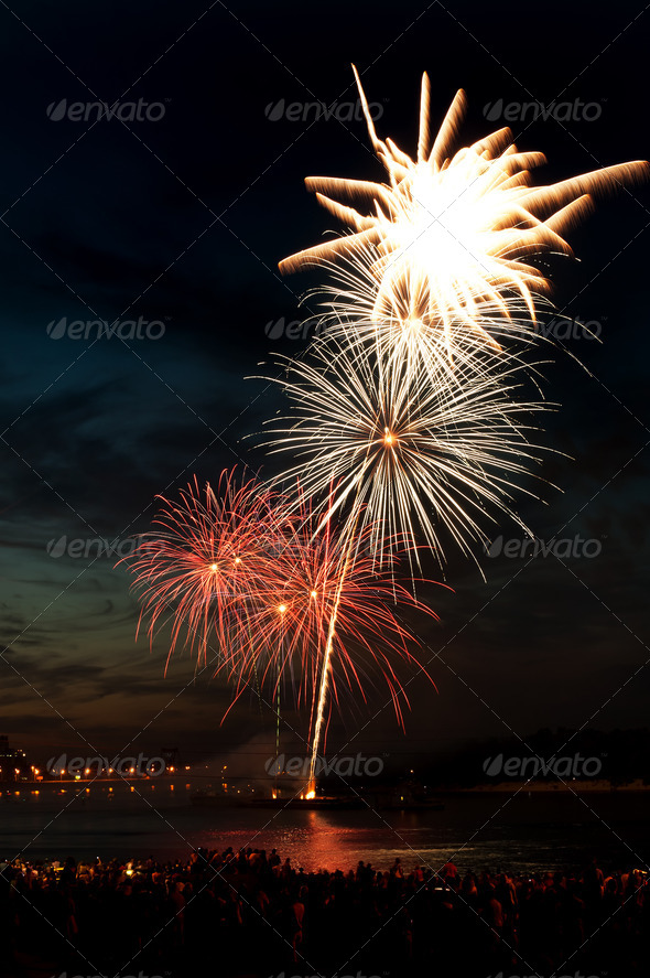 PhotoDune Brightly colorful fireworks in the night sky 4213855