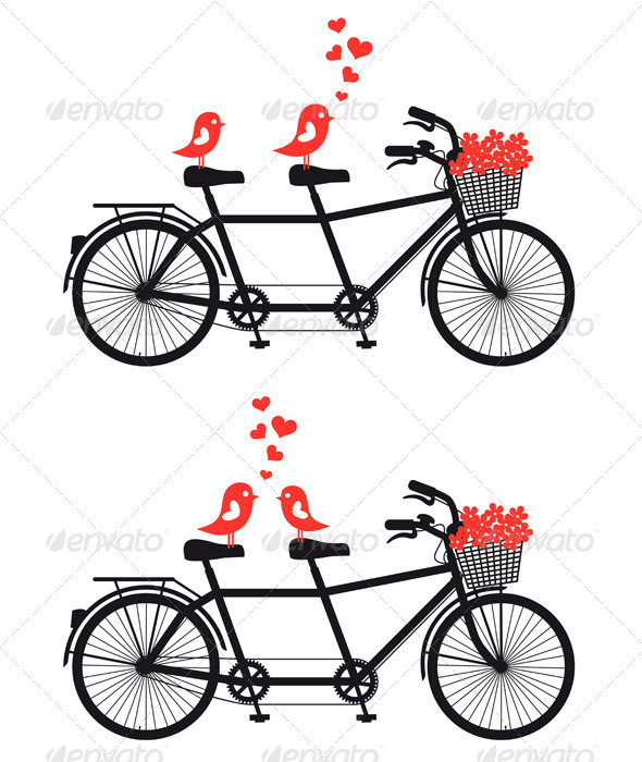 GraphicRiver Tandem Bicycle with Love Birds 4214369