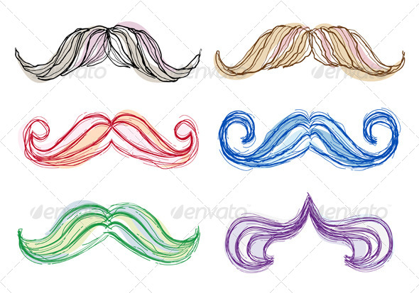 GraphicRiver Hand Drawn Mustache Set 4214385
