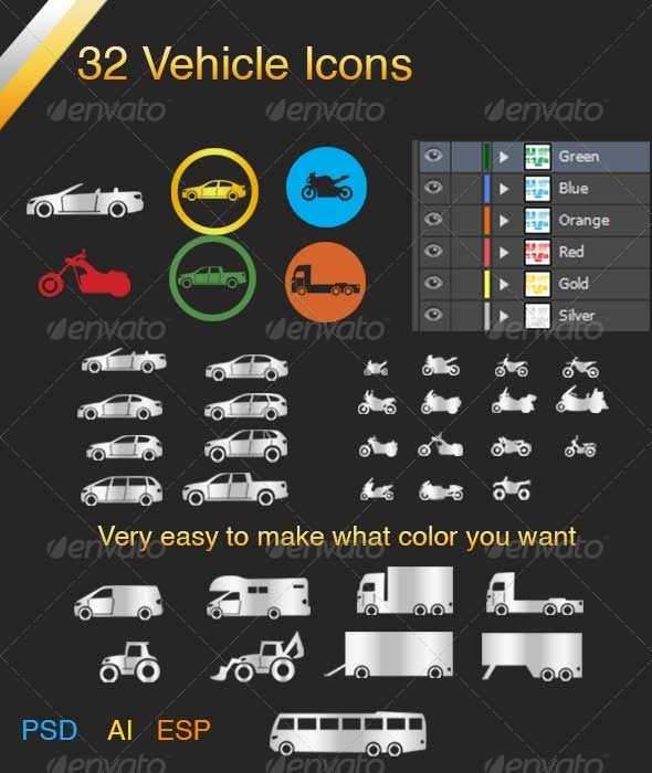 GraphicRiver Vehicle Icons 4215070