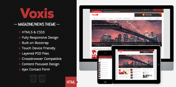ThemeForest Voxis Responsive Magazine News HTML template 4215121