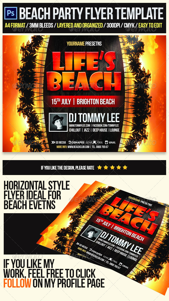 GraphicRiver Life Is Beach Party Flyer Template 4215461