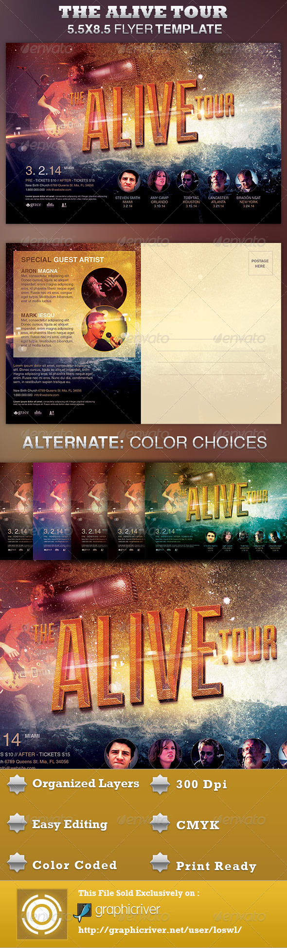 GraphicRiver Alive Church Concert Flyer Template 4044877
