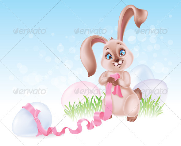 GraphicRiver Seasonal Illustration with Easter Bunny 4215711