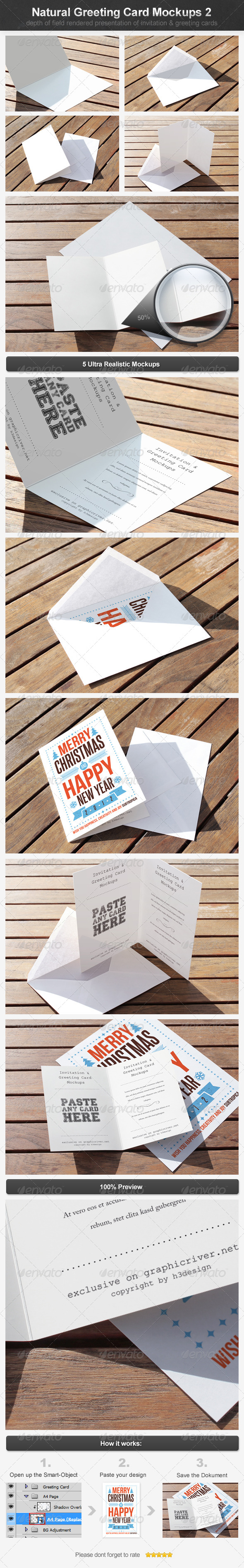 Natural Greeting Card Mockups 2 - Print Product Mock-Ups