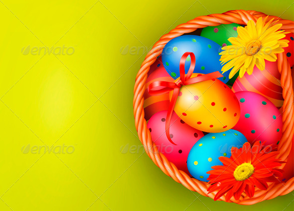 GraphicRiver Easter Background with Easter Eggs and Flowers 4216193