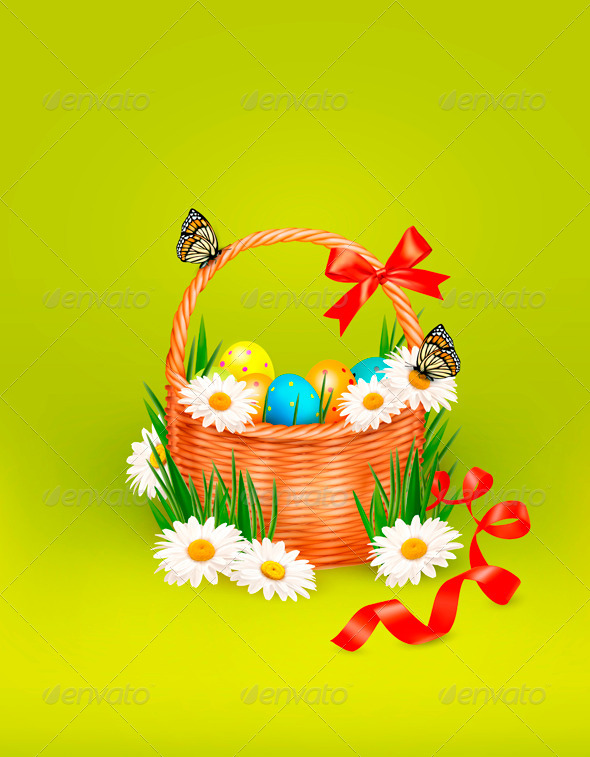 GraphicRiver Easter Background with Easter Eggs in Basket 4216211