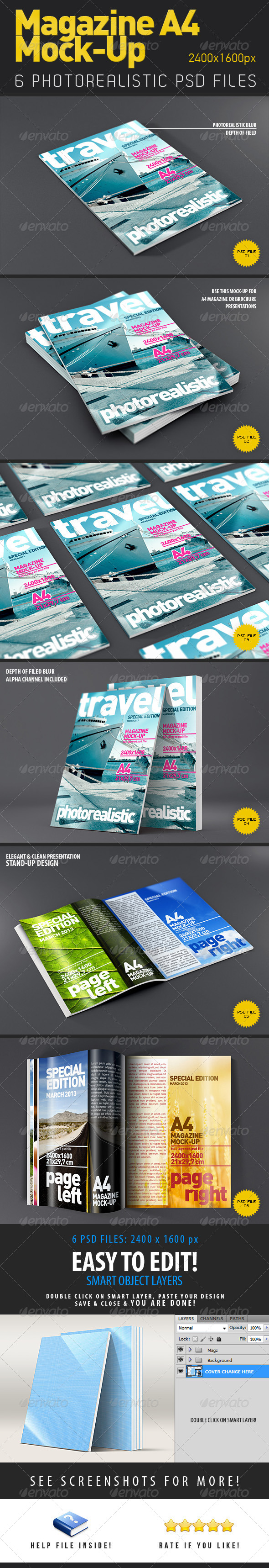 Magazine - Brochure A4 Mock-Up - Print Product Mock-Ups