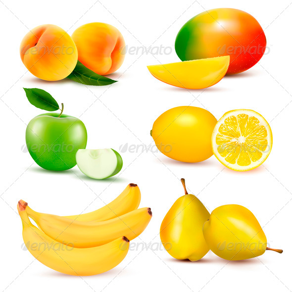 Big Group of Different Fruit. Vector Illustration.