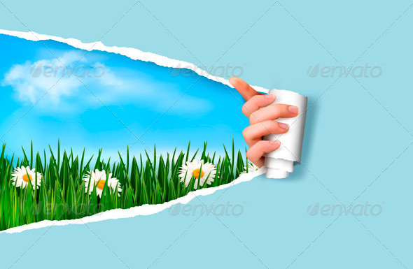 GraphicRiver Nature Background with Green Grass and Sky 4216307