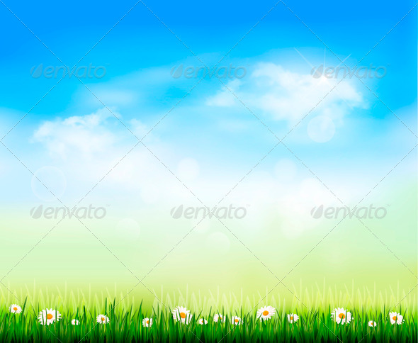 GraphicRiver Nature Background with Green Grass and Flowers 4216454
