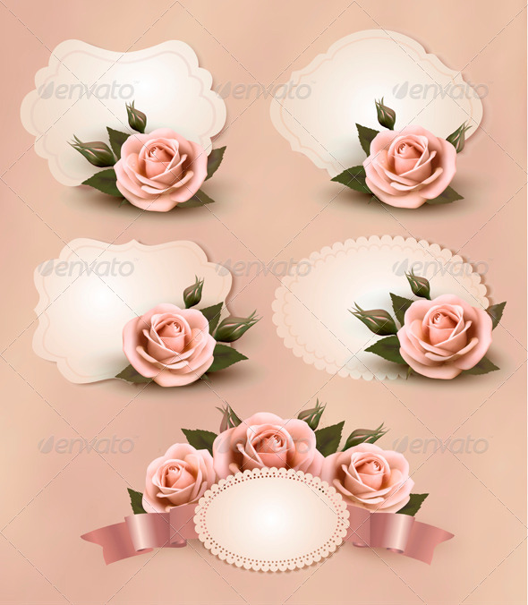 GraphicRiver Greeting Cards with Pink Roses Collection 4216470