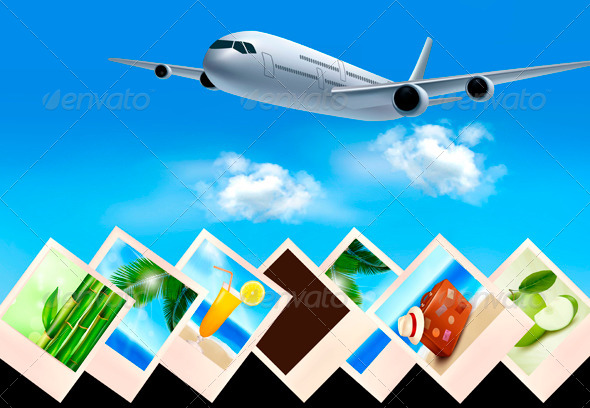 GraphicRiver Background with Airplane and with Photos 4216506
