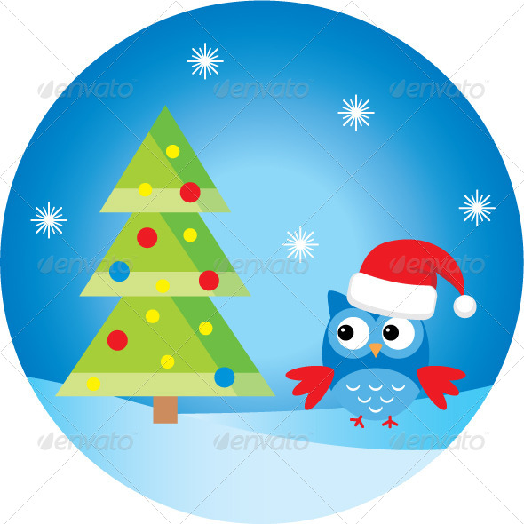 GraphicRiver Owl Under the Christmas Tree 4219710