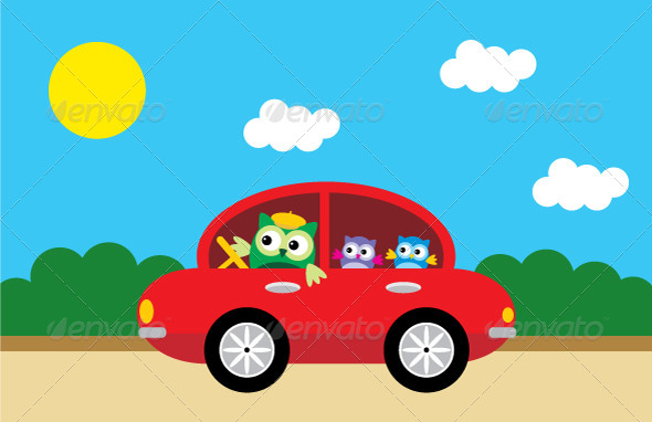 GraphicRiver Owls Traveling By Car 4219713