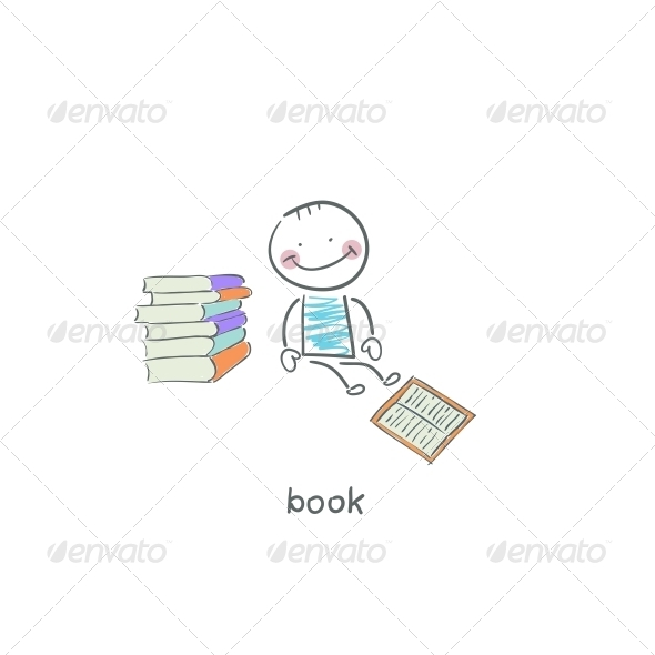 GraphicRiver Reader of Books Illustration 4220120