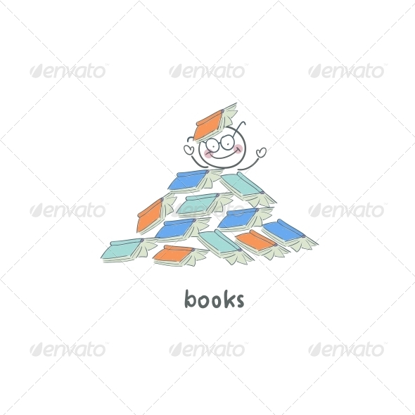 GraphicRiver Reader of Books Illustration 4220141