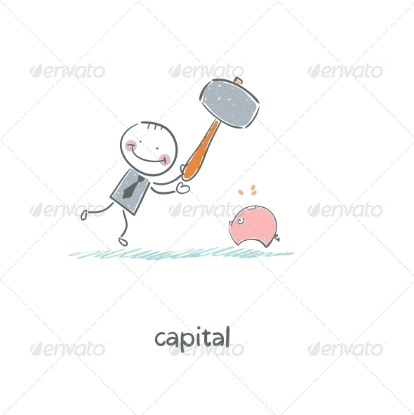 GraphicRiver Man Breaks Piggy Bank with a Hammer Illustration 4220142