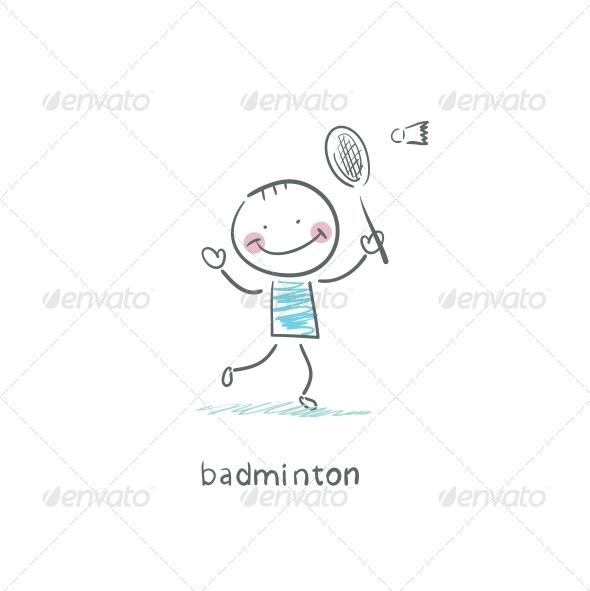 GraphicRiver Man Playing Badminton Illustration 4220168