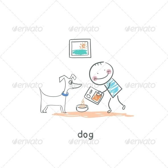 GraphicRiver A Man Feeds the Dog Illustration 4220190