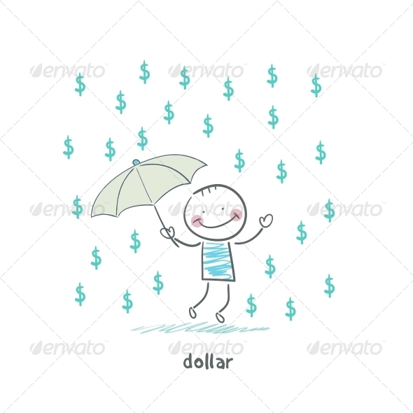 GraphicRiver Rain of Dollars Illustration 4220195