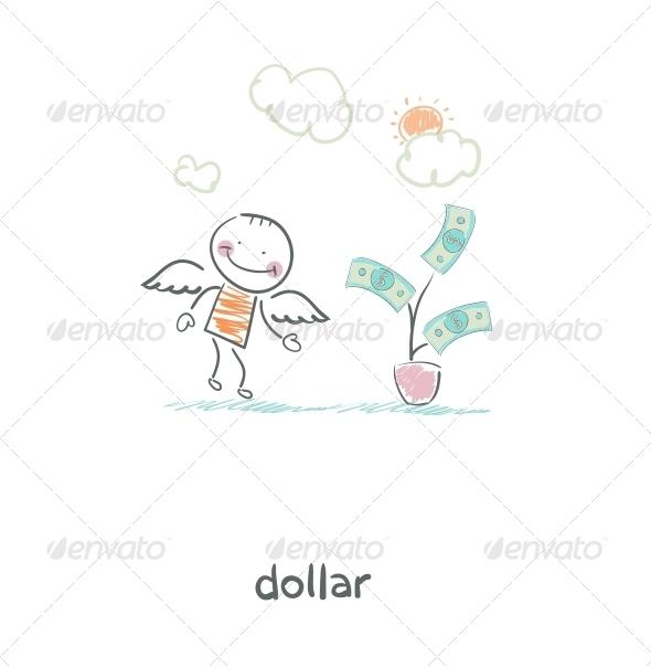 GraphicRiver Money Tree and Angel Illustration 4220218