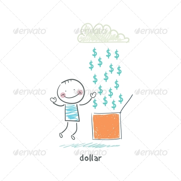 GraphicRiver Rain of Dollars Illustration 4220228