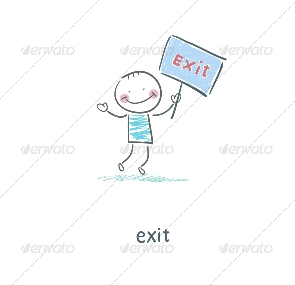 GraphicRiver A Man Holds a Sign Illustration 4220237