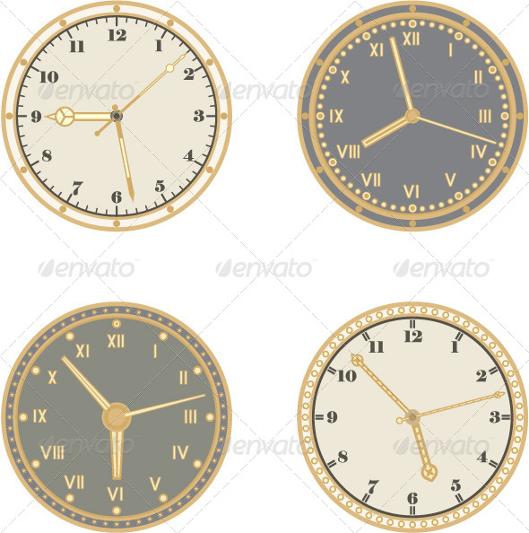 GraphicRiver Set of Four Clocks and Different Arrows 4220243