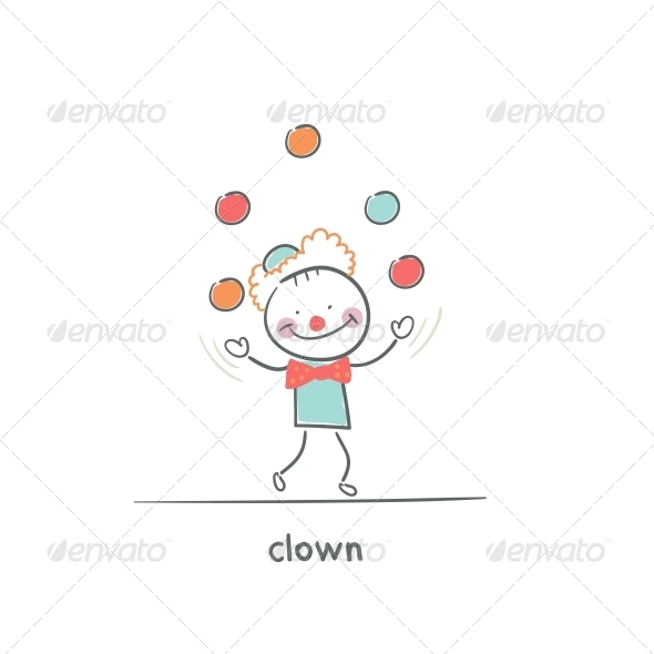 GraphicRiver Clown Juggling Illustration 4220266