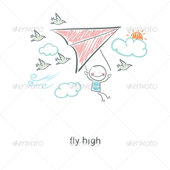GraphicRiver Man Flying a Hang Glider 4220332