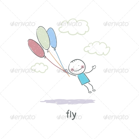 GraphicRiver A Man Holding on to the Balloons and Flying 4220338