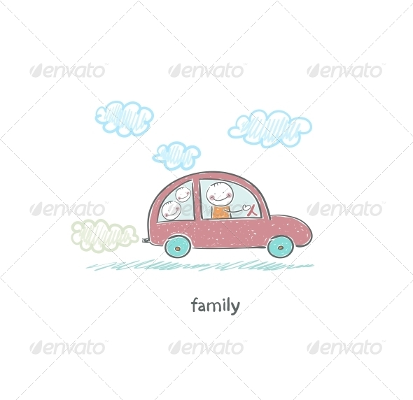 GraphicRiver Family Car Illustration 4220343