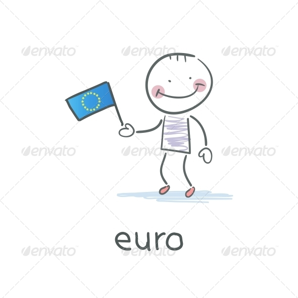 Man Holding Euro Flag Illustration
