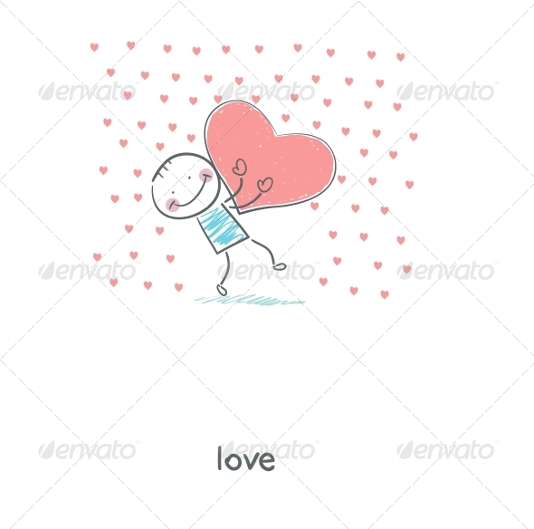 GraphicRiver Man Holding Hearts Illustration 4220453