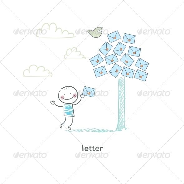 GraphicRiver A Man and a Letter Illustration 4220495