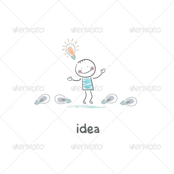 GraphicRiver The Man Found his Idea Concept Ideas 4220511