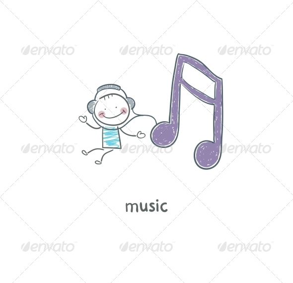 GraphicRiver A Man Listens to Music Illustration 4220552