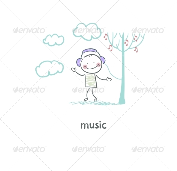 GraphicRiver A Man Listens to Music Illustration 4220554