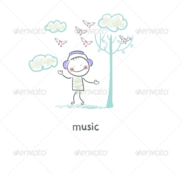 GraphicRiver A Man Listens to Music Illustration 4220555