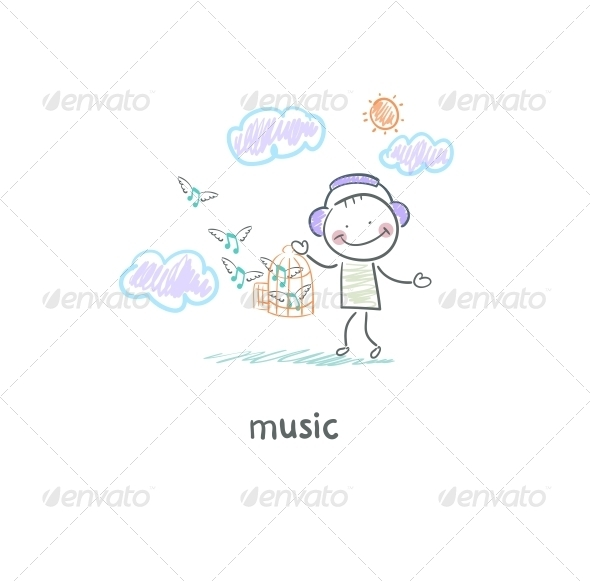 A Man Listens to Music Illustration