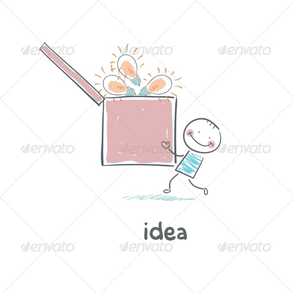 GraphicRiver A Man Carries a Box of Ideas Concept Ideas 4220562