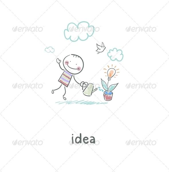 GraphicRiver Man Grows Idea Illustration 4220639