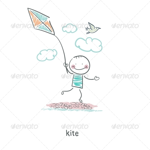GraphicRiver A Man with a Kite Illustration 4220655