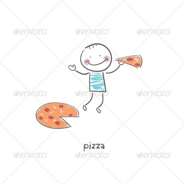Man eats Pizza Illustration
