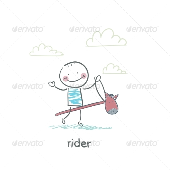 GraphicRiver Rider on a Horse Toy Illustration 4220749