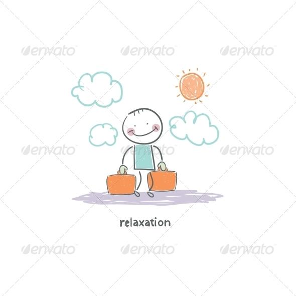 Man on Vacation Illustration